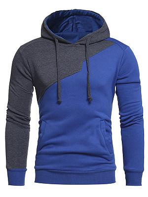 Color Block Long Sleeve Pocket Men Hoodie