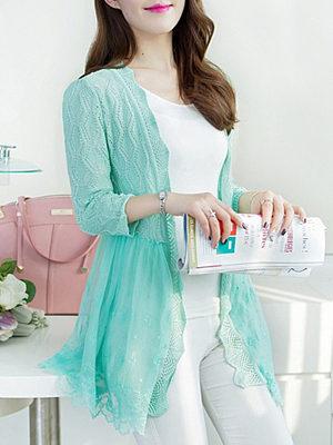 Decorative Lace Plain Cardigans