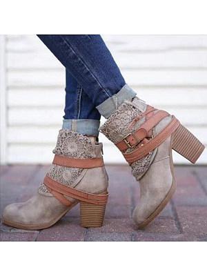 Plain Chunky High Heeled Velvet Round Toe Date Outdoor Short High Heels Boots, 5929438
