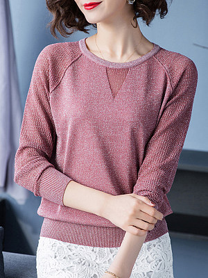 Round Neck Patchwork Elegant Plain Long Sleeve Knit Pullover, 8477836