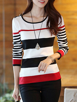 BERRYLOOK / Striped Color Block Long Sleeve T-Shirt