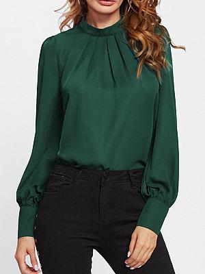 Autumn Spring Cotton Women High Neck Decorative Button Plain Long Sleeve Blouses