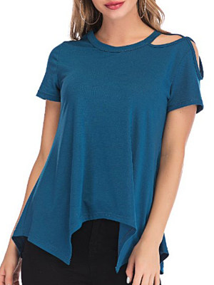 Round Neck Cutout Plain Short Sleeve T-Shirts, 6749002