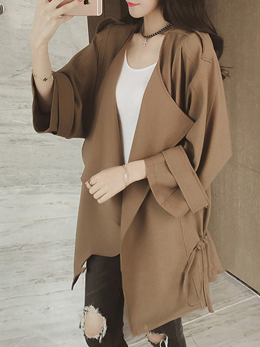 BerryLook Asymmetric Neck  Drawstring  Plain Trench Coat