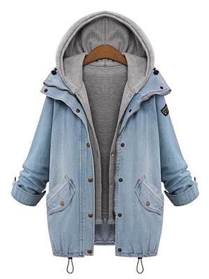 Hooded Drawstring Flap Pocket Denim Two-Piece Coats фото