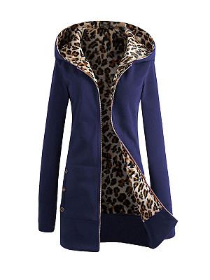 Pockets Leopard Printed Hoodie