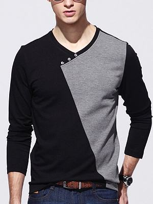 Assorted Colors Decorative Buttons V Neck T-Shirts