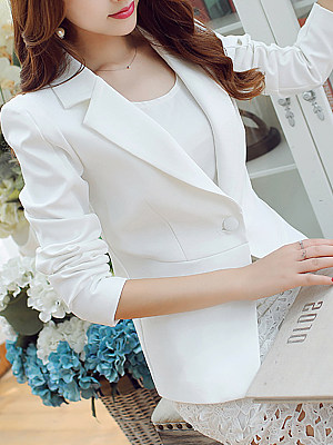 Casual Slim Long Sleeves Solid Color Suit фото