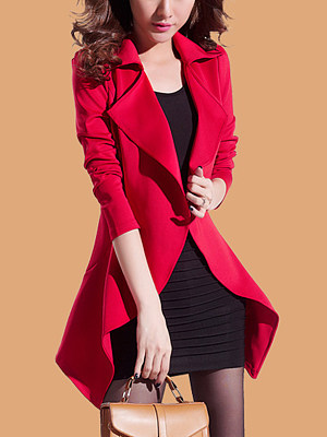 Lapel Asymmetric Hem Plain Trench Coat фото