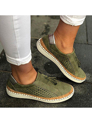 Plain Flat Peep Toe Casual Travel Flat & Loafers, 7155529