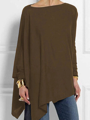 Round Neck Patchwork Casual Plain Loose Fitting Long Sleeve T-Shirt фото