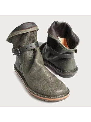 Plain Flat Round Toe Date Outdoor Flat Boots, 8692045
