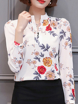 Tachibana Patchwork Elegant Printed Long Sleeve Blouse, 8303521
