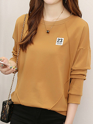 Round Neck Loose Fitting Patchwork Plain Long Sleeve T-Shirts