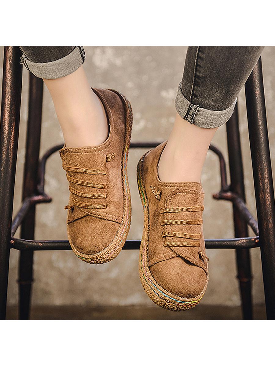 Plain  Flat  Elastic  Round Toe  Casual Flat & Loafers