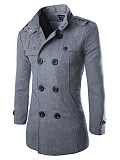 Image of Band Collar Double Breasted Vented Plain Men Woolen Coat