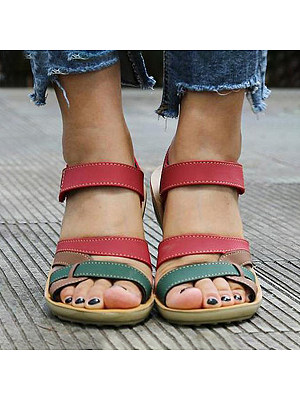 Color Block  Peep Toe  Casual Flat Sandals