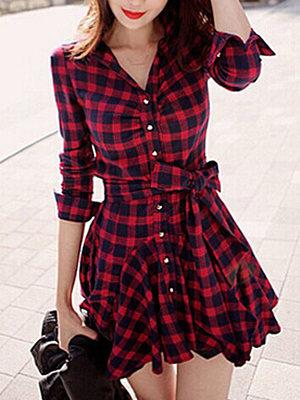 Plaid Bowknot Flared Shirt Dress фото