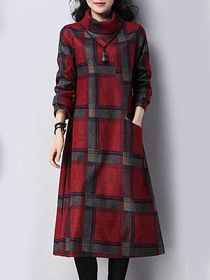 Cowl Neck  Plaid Oversized Maxi Dress
