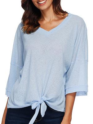 V Neck Lace Up Loose Fitting Plain Batwing Sleeve Long Sleeve T-Shirts