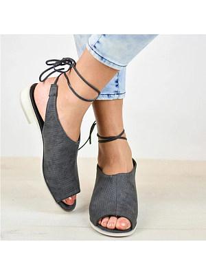 Plain Flat Ankle Strap Peep Toe Casual Flat Sandals