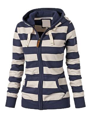 Casual  Striped  Long Sleeve Hoodie