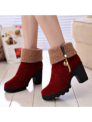 berrylook Plain Chunky High Heeled Velvet Round Toe Casual Date Short High Heels Boots