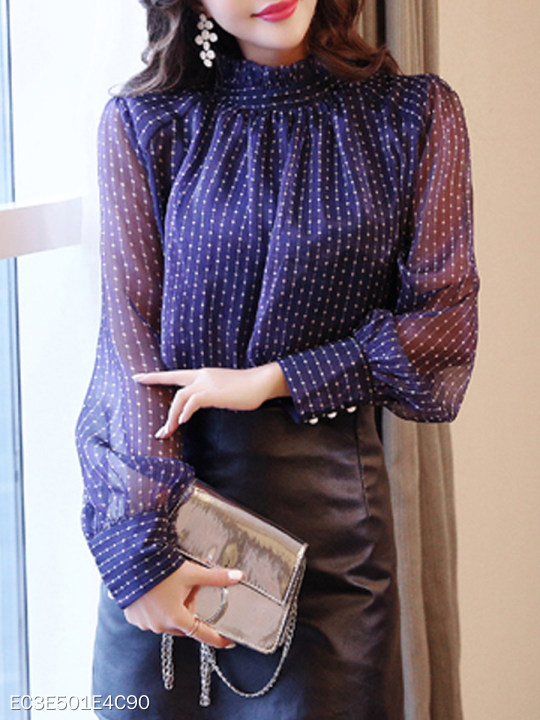 Short High Collar Patchwork Elegant Polka Dot Long Sleeve Blouses