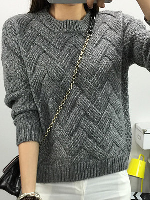 Round Neck Loose Fitting Plain Knit Pullover, 5285819