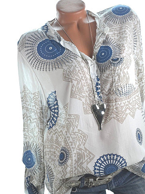 A Lapel Patchwork Fashion Printed Long Sleeve Blouses фото