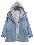 Image of Hooded Two Way Plain Jacket