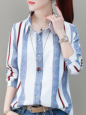 Lapel Elegant Striped Long Sleeve Blouse, 9894756