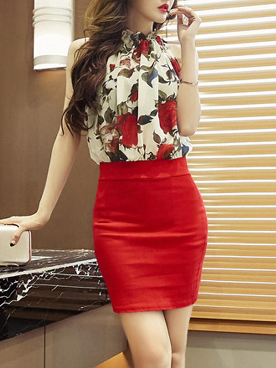 High Neck  Floral Printed Bodycon Dress