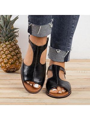 Plain Flat Peep Toe Casual Flat Sandals, 6641100
