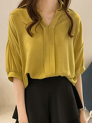 Turn Down Collar Loose Fitting Plain Blouses, 6917965