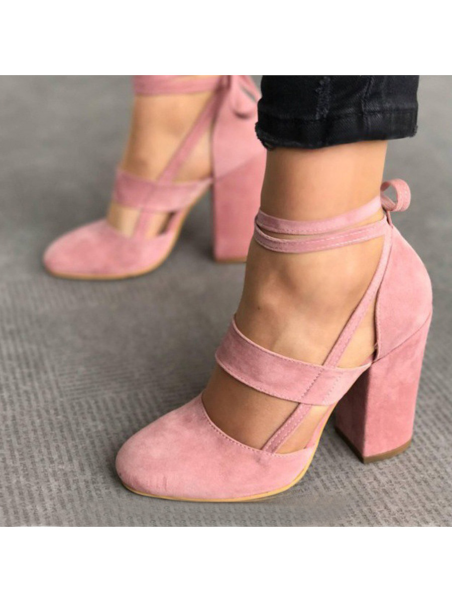 BerryLook Plain  Chunky  High Heeled  Velvet  Ankle Strap  Round Toe  Date Event Pumps