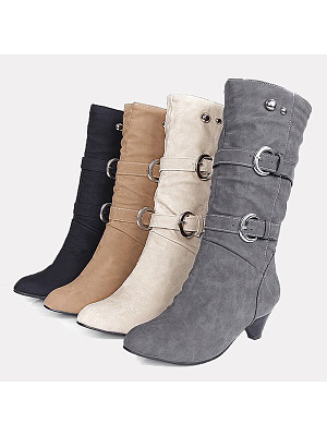 Plain  Mid Heeled  Velvet  Round Toe  Casual Outdoor  Knee High High Heels Boots
