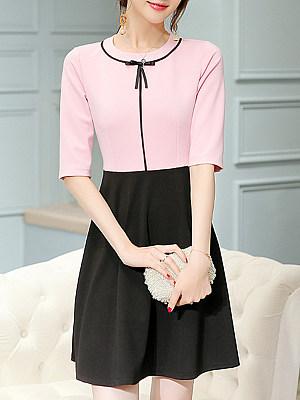 Round Neck Color Block Skater Dress, 8539321