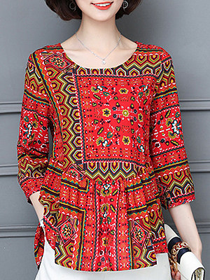 Round Neck Patchwork Casual Bohemian Long Sleeve Blouse, 9269907