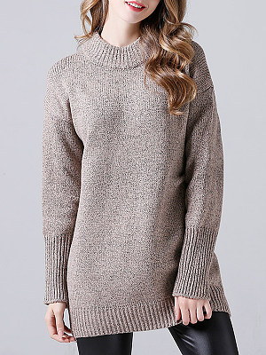 Berrylook Short High Collar Patchwork Medium Brief Plain Long Sleeve Knit Pullover online, fashion store, cardigan, long cardigan