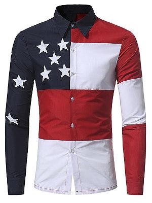 Color Block Star Men Shirts