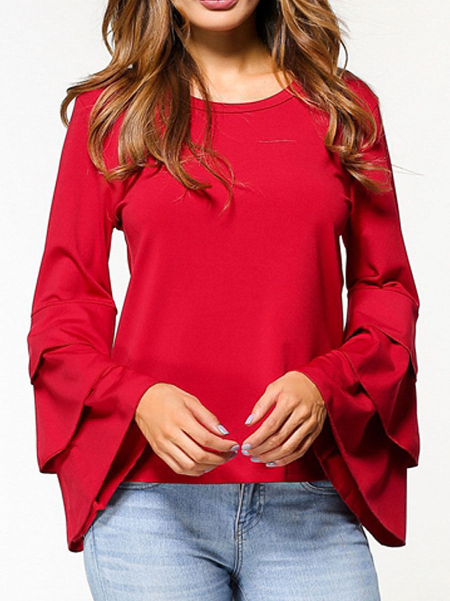 Autumn Spring  Polyester  Women  Round Neck  Flounce  Plain  Long Sleeve Blouses