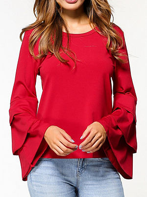 Autumn Spring Polyester Women Round Neck Flounce Plain Long Sleeve Blouses фото