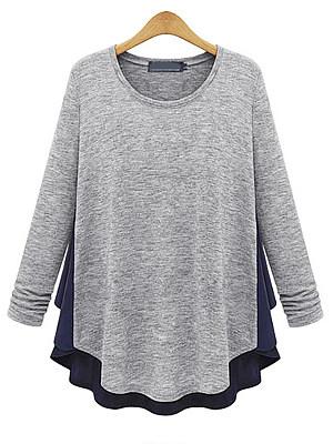 Autumn Spring Winter Cotton Women Round Neck Asymmetric Hem Patchwork Plain Long Sleeve T-Shirts