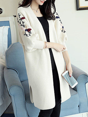 Berrylook coupon: Longline Embroidery Puff Sleeve Cardigan