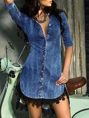 Fold-Over Collar Plain Bodycon Dress, 4443356