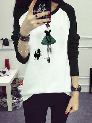 Round Neck  Patchwork  Printed Long Sleeve T-Shirts