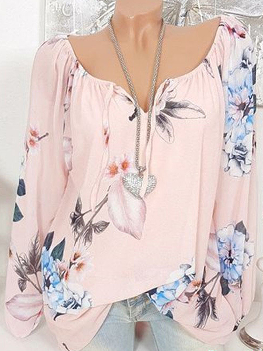 Autumn Spring  Polyester  Women  Tie Collar  Floral Printed  Long Sleeve Blouses