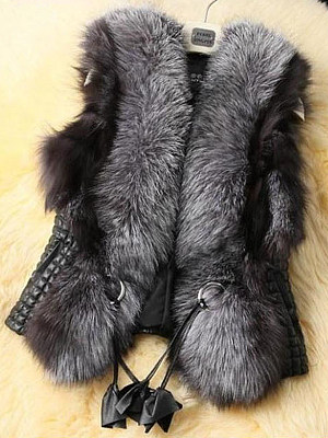 Faux Fur Collar Pocket PU Leather Waistcoat