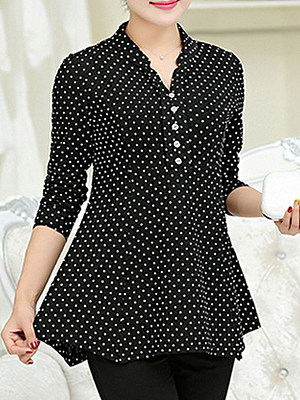 Autumn Spring Cotton Women V-Neck Decorative Button Polka Dot Long Sleeve T-Shirts, 5162298